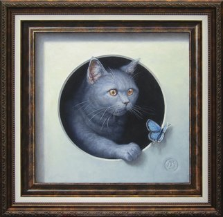 Yuriy Matrosov; Cat And Butterfly, 2017, Original Painting Oil, 15.7 x 15.7 inches. Artwork description: 241 Painting Oil on Canvas. This trompe l oeil depict realistically rendered painting of british shorthair cat and butterfly in both real and illusionary frames. The cat is climbing out of the circle hole erasing the boundary between image and reality. For this painting, I applied several layers ...