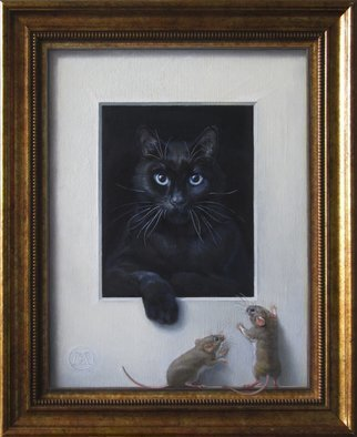 Yuriy Matrosov; Cat And Mice, 2017, Original Painting Oil, 13.8 x 17.7 inches. Artwork description: 241 Painting Oil on Canvas. This trompe l oeil painting features a resting black cat and mice wanting to look at it. Mice are standing on the painting s illusionary frame. For this painting, I applied several layers of paint to the canvas in classic oil painting technique. ...
