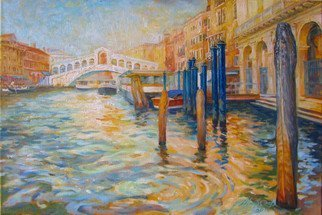 Yuriy Matrosov; Golden Venice, 2019, Original Painting Oil, 23.6 x 15.8 inches. Artwork description: 241 This artwork depicting the Rialto bridge in Venice.  For this painting, I applied several layers of paint to the canvas in classic oil painting technique.  I used a strong light and heavy shadows to create depth in a painting and a centre of interest.  Hanging hardware is ...