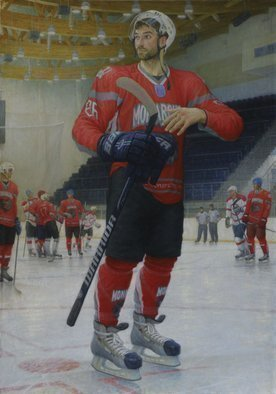 Yuriy Matrosov; Portrait Of A Hockey Man, 2015, Original Painting Oil, 27.6 x 41 inches. Artwork description: 241 Painting Oil on Canvas. This artwork depict realistically rendered painting of hockey man. For this painting, I applied several layers of paint to the canvas in classic oil painting technique. I used a strong light and heavy shadows to create depth in a painting and a centre ...