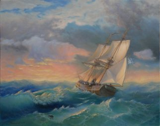Yuriy Matrosov; Sunset At Sea, 2016, Original Painting Oil, 35.4 x 27.6 inches. Artwork description: 241 Painting Oil on Canvas.  This painting of the sea sunset was inspired by an exhibition of the famous marine artist Ivan Aivazovsky, which I recently visited in the State Russian Museum in Saint- Petersburg.Multi colored and warm sky of sunset - is sort of calming.  Most people ...