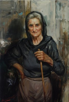 Maxmilian Ciccone; Wrinkles Of Life, 2013, Original Painting Oil, 70 x 100 inches. Artwork description: 241  Portrait of an Old Lady ...