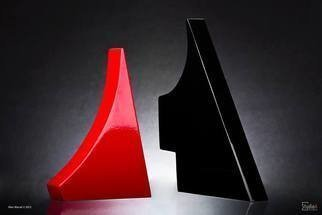 Max Tolentino; Le Rouge Et Le Noir, 2013, Original Sculpture Wood, 30 x 30 cm. Artwork description: 241  Wood painted sculpture combining two pieces which may be placed in various positions . dimensions are simply a reference since there are two parts. ...