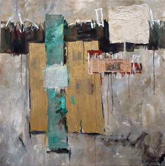 Valerie Hoffmann; URBAN LANDSCAPE 2, 2009, Original Painting Acrylic, 42 x 42 inches. Artwork description: 241  Acrylic, metalic pigment and collage on canvas over wood stretchers. ...