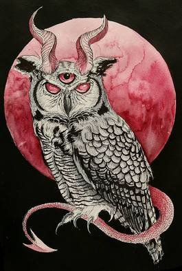 Marisa Dion, Horned Owl, 2016, Original Watercolor,    inches