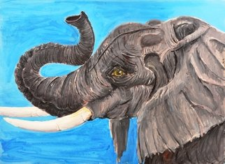 Medea Ioseliani; African Ggiant, 2017, Original Painting Acrylic, 60 x 40 cm. Artwork description: 241 African Old and Wise Elephant enjoying sunny day...