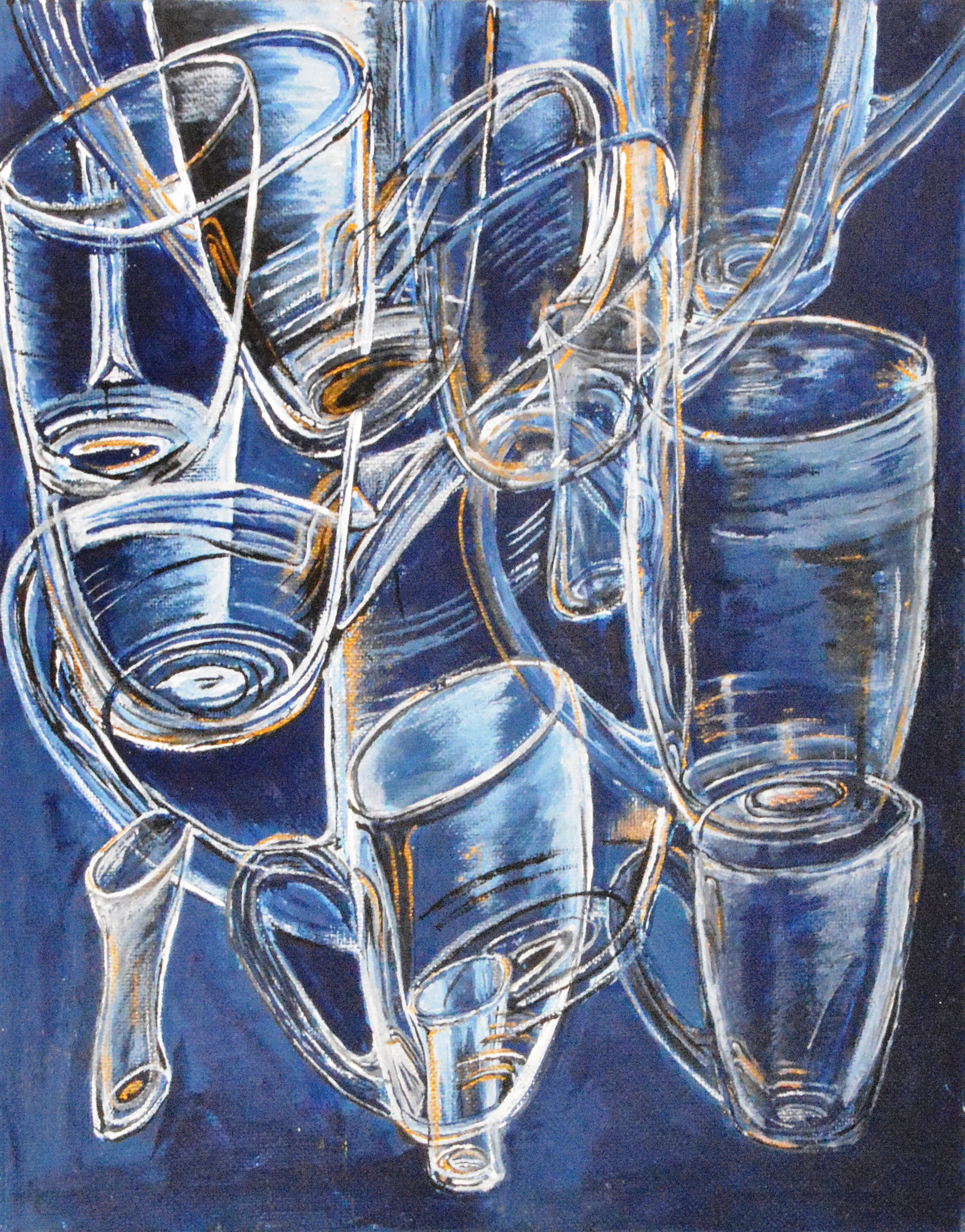 Medea Ioseliani; Glasses In Blue, 2017, Original Painting Acrylic, 30 x 50 cm. Artwork description: 241 The picture creates the party mood at home ...