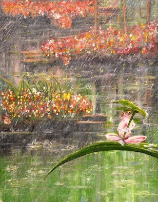 Medea Ioseliani; Little Frog In The Rainy Pond, 2017, Original Painting Acrylic, 50 x 60 cm. Artwork description: 241 A little frog is wet and annoyed by rain in the pond with flowers...