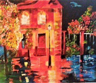 Israel Miller; Rainy Night, 2018, Original Painting Acrylic, 24 x 20 inches. Artwork description: 241 rainy night down south...