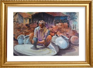 Mintu Maji; Potter In Village, 2018, Original Watercolor, 12 x 10 inches. Artwork description: 241 activities of our social freinds...
