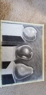 Mei Ling Fontes; Fruits Of Art, 2018, Original Drawing Charcoal, 18 x 24 inches.