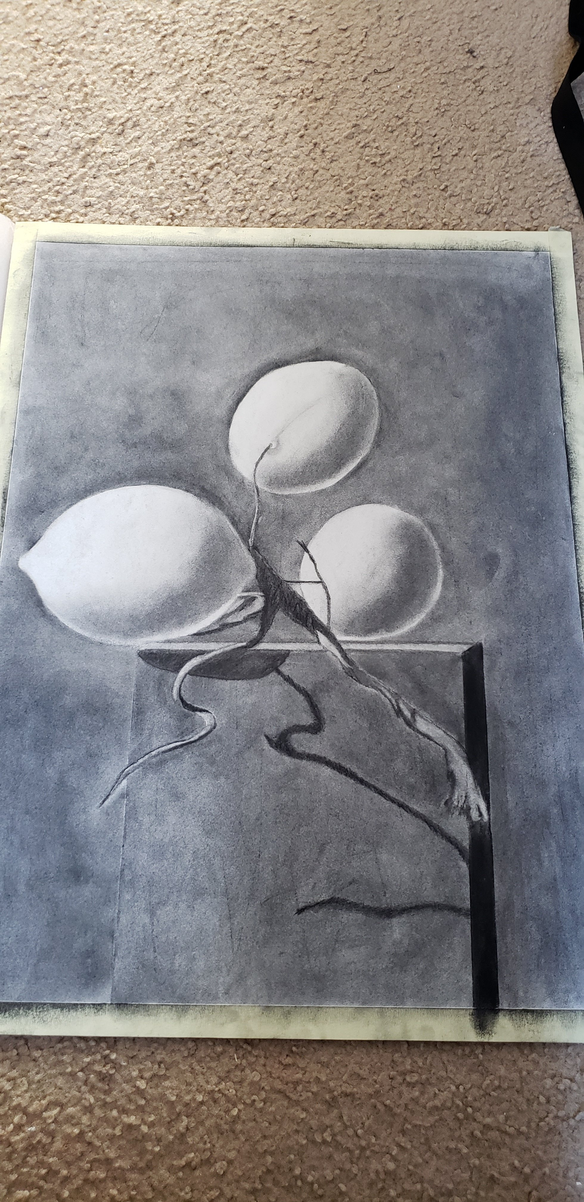 Mei Ling Fontes; When Life Gives You Lemons, 2018, Original Drawing Charcoal, 18 x 24 inches. Artwork description: 241 This was a piece I created in an Art class.  Still life of lemons on boxes. ...