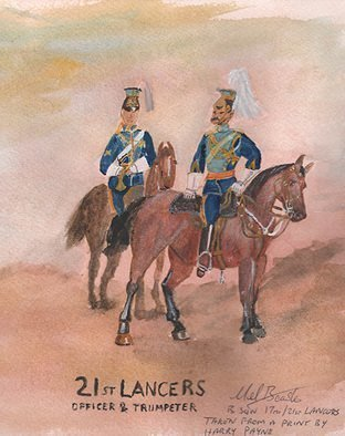 Mel Beasley; 21st Lancers, 2018, Original Watercolor, 7.5 x 9.2 inches. Artwork description: 241 Mounted officer and trumpeter of the 21st Lancers. ...