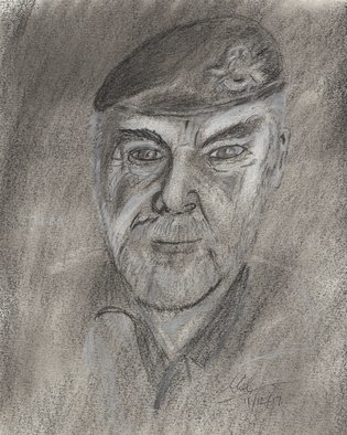 Mel Beasley; British Army Veteran, 2018, Original Drawing Charcoal, 8 x 12 inches. Artwork description: 241 Portrait of an old 17th 21st Lancers veteran. This particular soldier was shot in the back three times without the bullets going through his flak jacket. ...