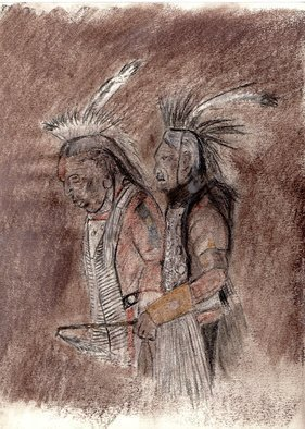 Mel Beasley; Indians, 2018, Original Drawing Charcoal, 8 x 11 inches. Artwork description: 241 Two Native Americans at a Pow Wow dance. ...