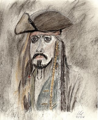 Mel Beasley; Jack Sparrow, 2018, Original Drawing Charcoal, 8 x 10 inches. Artwork description: 241 Johnny Depp as Captain Sparrow. ...