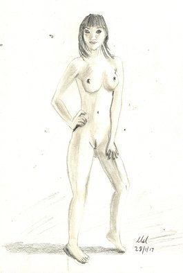 Mel Beasley; Japanese Nude, 2018, Original Drawing Pencil, 8 x 11 inches. Artwork description: 241 Pencil drawing of a standing, Japanese nude model. ...