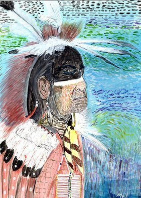 Mel Beasley; Native American, 2018, Original Watercolor, 8.5 x 11.5 inches. Artwork description: 241 Native American with painted face. ...