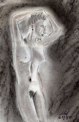 Mel Beasley; Nude, 2018, Original Drawing Charcoal, 8 x 11 inches. Artwork description: 241 Nude female form from mid thigh upwards, standing in classic hands in hair pose. ...