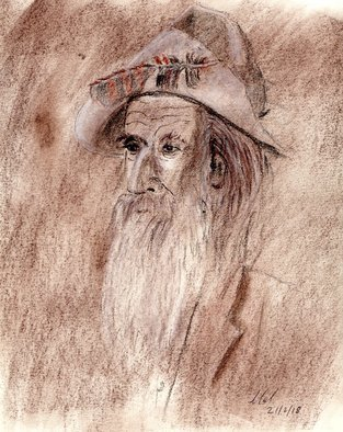Mel Beasley; Old Timer, 2018, Original Drawing Charcoal, 8 x 11 inches. Artwork description: 241 Portrait of a western figure wearing a slouch hat with the front of the brim folded up and help in place with a feather. This Old Timer has known better days and was probably a Good Ole Rebel  ...