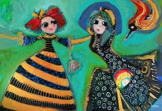 Selin Melek Aktan; 2 Little Princess, 2010, Original Painting Acrylic, 50 x 70 cm. Artwork description: 241      selin Melek Aktan, figuratif art, children, boy, girl, friends, princess, queen    ...
