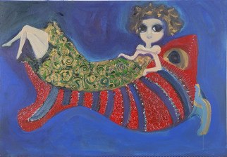 Selin Melek Aktan; Fairy Tale, 2010, Original Painting Acrylic, 80 x 40 cm. Artwork description: 241   selin Melek Aktan, figuratif art, animal paintings , woman, temple, queen  ...