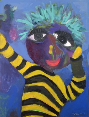 Selin Melek Aktan; Fanatic, 2010, Original Painting Acrylic, 90 x 120 cm. Artwork description: 241    selin Melek Aktan, figuratif art, children, boy,  ...