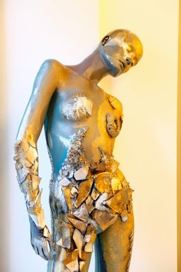 Selin Melek Aktan; Golden Girl, 2009, Original Sculpture Mixed, 170 x 40 cm. Artwork description: 241   Selin Melek Aktan, woman, fashion, cloths, figurative, bronze, human, people, mixed media, night, beauty, avangard sculpture, art contemporary, day, rose, girl, golden, gold          ...