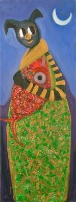 Selin Melek Aktan; My Bear With Fish, 2010, Original Painting Acrylic, 60 x 160 cm. Artwork description: 241  bear, fish, selin Melek Aktan, children art, figuratif art, animal paintings ...