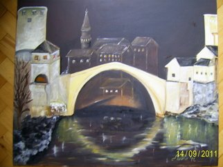 Meliha Druzic; Old Bridge Mostar, 2011, Original Painting Oil, 60 x 50 cm.