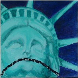Mel Sotis-Presley; Land Of The Free, 2003, Original Mixed Media, 30 x 32 inches. Artwork description: 241 In wake of the Patriot Act and Homeland Security this painting questions what freedom really means...