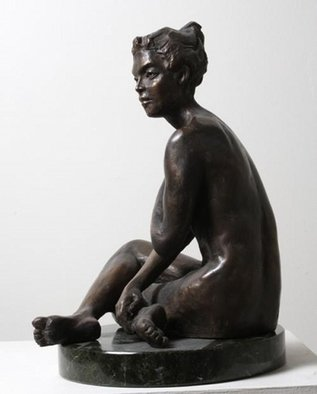 Merewyn Heath; Lady Charm, 2010, Original Sculpture Bronze, 12 x 20 inches.