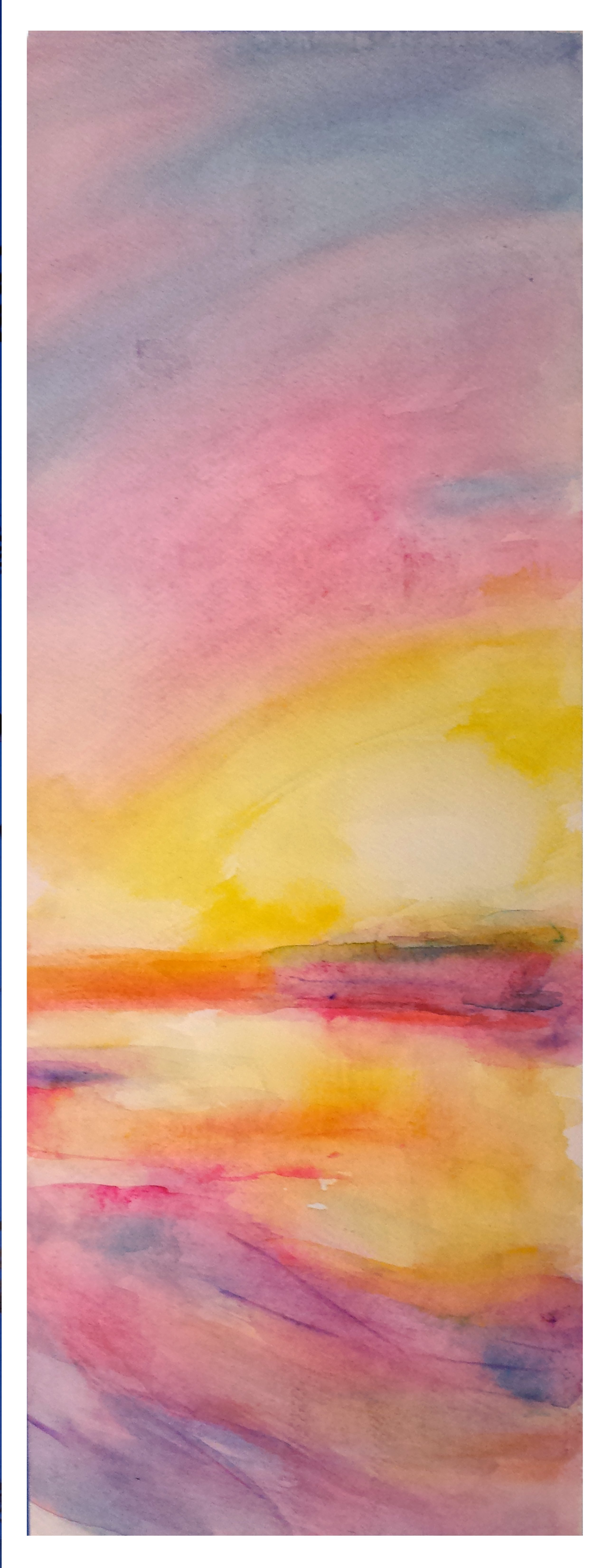 Merrilyne Hendrickson; Daybreak On Spa Creek Slice, 2017, Original Watercolor, 7 x 18 inches. Artwork description: 241 Sometimes the eastern sky at sunrise melts into the water...