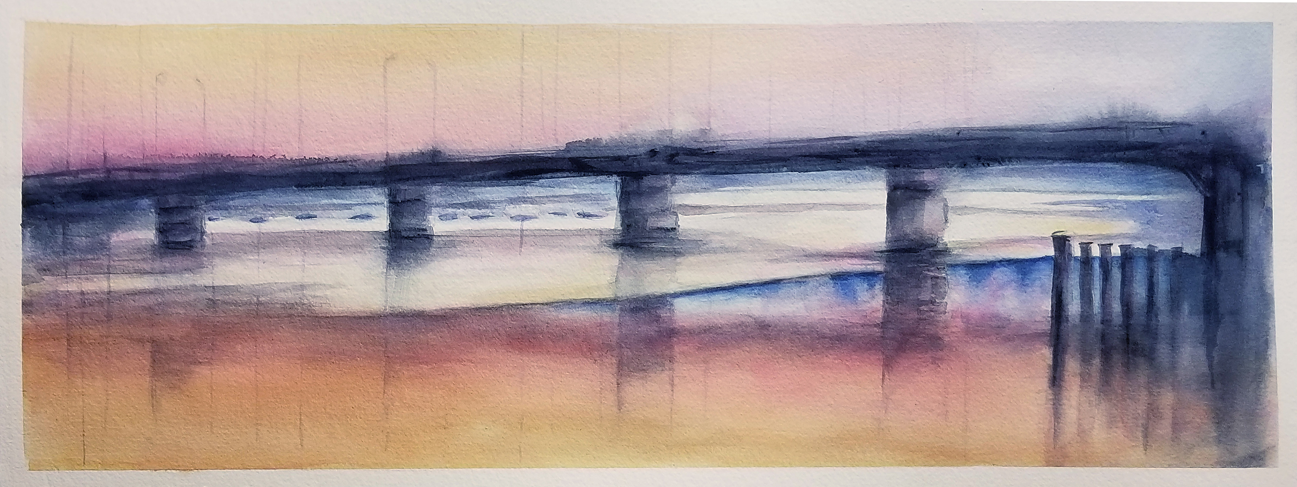 Merrilyne Hendrickson; Factory Rd 1, 2013, Original Watercolor, 12 x 6 inches. Artwork description: 241   barns and farms upstate NY  ...