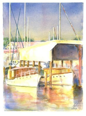 Merrilyne Hendrickson; Antique Boats Sarles Boat Shed, 2017, Original Watercolor, 9 x 12 inches. Artwork description: 241 Golden Light of late afternoon perfect for this scene of a golden time gone now...