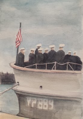 Merrilyne Hendrickson; Middies On Yp Boat, 2017, Original Watercolor, 9 x 12 inches. Artwork description: 241 Early morning at US Naval Academy the Middies winter uniform, white caps on YP boat was study in gray ...