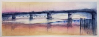 Merrilyne Hendrickson; Salmon Light, 2020, Original Watercolor, 26 x 13 inches. Artwork description: 241 As the days shorten sunrise angles lower lighting unusual spots under the bridge and bathing others in a salmon light...