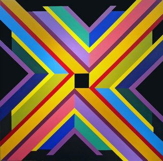 Michael Griesgraber; X Marks The Square, 2012, Original Painting Acrylic, 48 x 48 inches. Artwork description: 241   X colorful geometric abstraction  ...