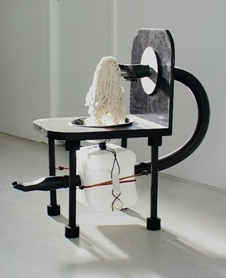 Micha Nussinov; Contraption, 2007, Original Sculpture Mixed, 48 x 98 cm. Artwork description: 241  The work expresses the flow of energy between outside and inside. Using recycled material of vacume cleaner and water container suggest suction of air and its storage.   ...