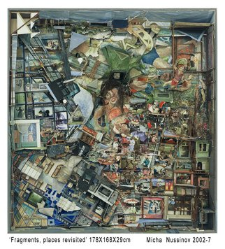 Micha Nussinov; Fragments Places Revisited, 2007, Original Assemblage, 168 x 178 cm. Artwork description: 241 Topographical looks at life with city and country landscapes. This work is layered with Nussinov's history. There are figurative life drawings, combined with photos, old and new, to create a collage of associations, and connections to people and nature, to past projects and to family. These ...