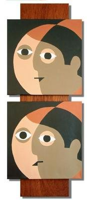 Michael Mercier; Four Heads, 2004, Original Painting Acrylic, 12 x 36 inches. Artwork description: 241 Acylic paint on canvas mounted on oak board...
