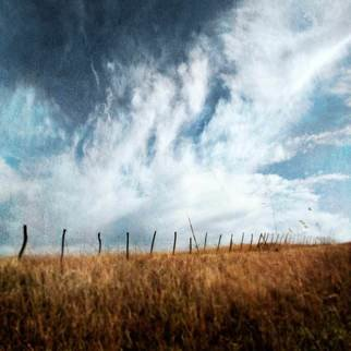Michael Regnier; Kansas Fence Post, 2010, Original Photography Color, 20 x 20 inches. Artwork description: 241  Kansas, clouds  ...