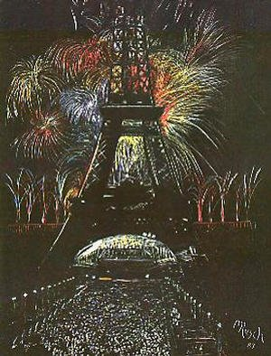 Michael Rusch; Celebration In Fireworks, 1987, Original Drawing Other, 11 x 15 inches. Artwork description: 241 A simple scratchboard study to reflect celebration. ...