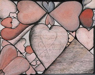Michael Rusch; Heartstained Window, 2002, Original Printmaking Giclee,   inches. Artwork description: 241 An interesting arrangement of hearts mimics the qualities of stained glass.Painted on illustration board it is a primary design tile to be expanded in digital technology at a later date.It is presently available as a primary print  and can be hand signed by the artist ...