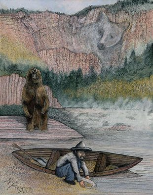 Michael Rusch; Prospector And The Bear, 2001, Original Mixed Media, 16 x 20 inches. Artwork description: 241 Originally published on the cover of Backwoodsman, this painting was altered afterward to include bear imagery in background. This painting is also available in various open series print forms and can be handsigned by artist for an additional handling fee....