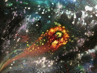 Michael Schaffer; Floating Through Space, 2018, Original Mixed Media, 48 x 30 inches. Artwork description: 241 A dream I had of a spirit floating through deep space. ...