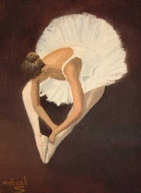 Michael Sharpe; Ballerina Bow, 2001, Original Painting Oil, 18 x 15 inches. Artwork description: 241 A beautiful figure of a ballerina clad in white portrayed on a dark brown background...