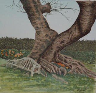 Michael Sharpe; Old Lovers Bench, 2001, Original Watercolor, 9 x 9 inches. Artwork description: 241 A bench by the side of an old tree surrounded by vivid flowers, what else could lovers crave for? ...