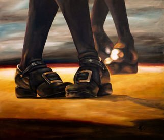 Michelle Iglesias; Irish Jig Dancing Feet, 2014, Original Painting Acrylic, 40 x 30 inches. Artwork description: 241  Irish jig, dancing, feet, tap, clogging, two, step, stepping, floor, black, large, big, brown, socks, shoes, synchronized, together, pairs, yellow, buckle, photo realism, iglesias ...