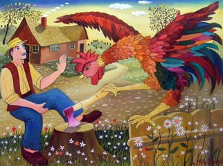 Mihai Dascalu; The Rooster, 2012, Original Painting Oil, 80 x 60 cm. Artwork description: 241   naive art, author Mihai Dascalu ...